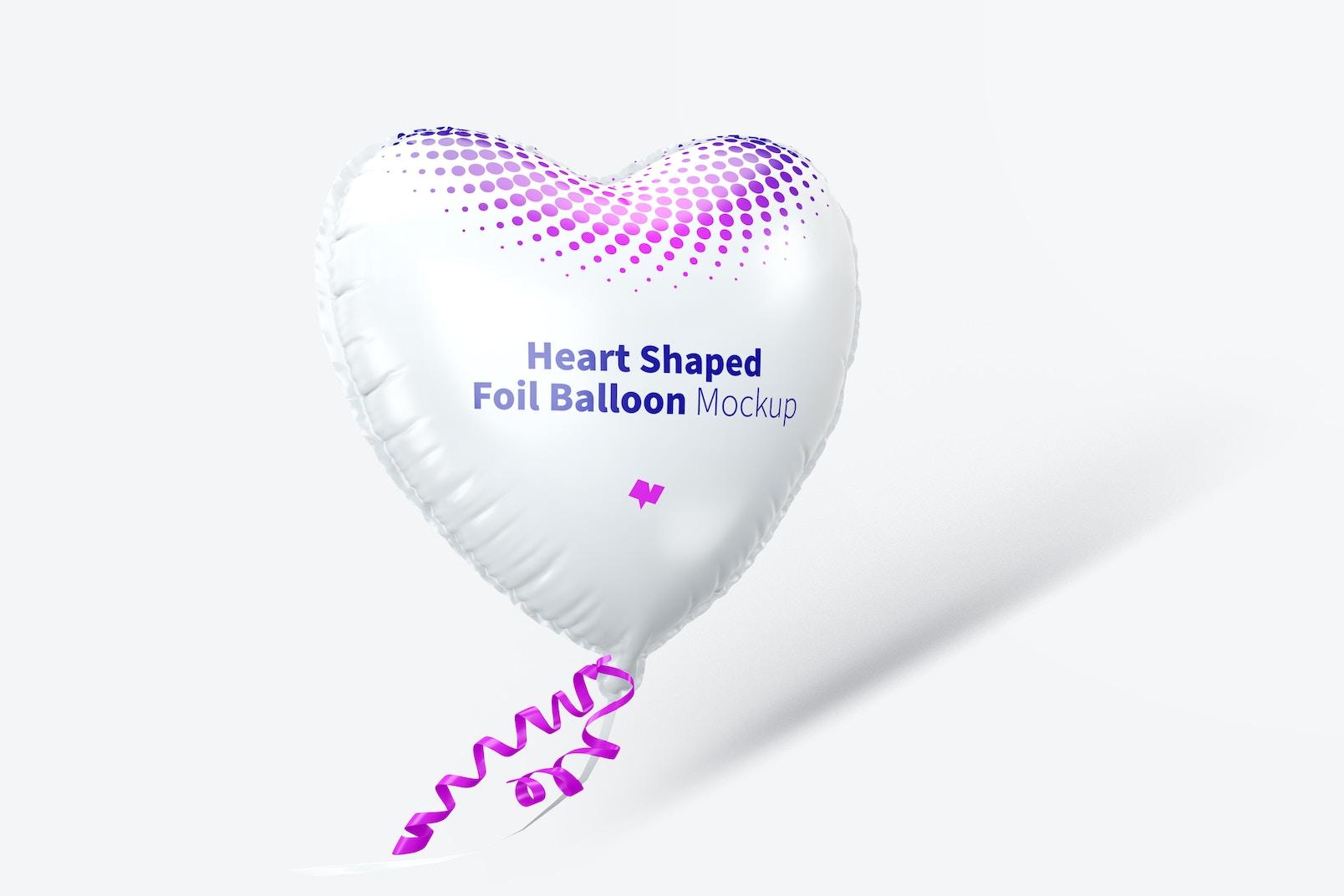 Heart Shaped Foil Balloon Mockup