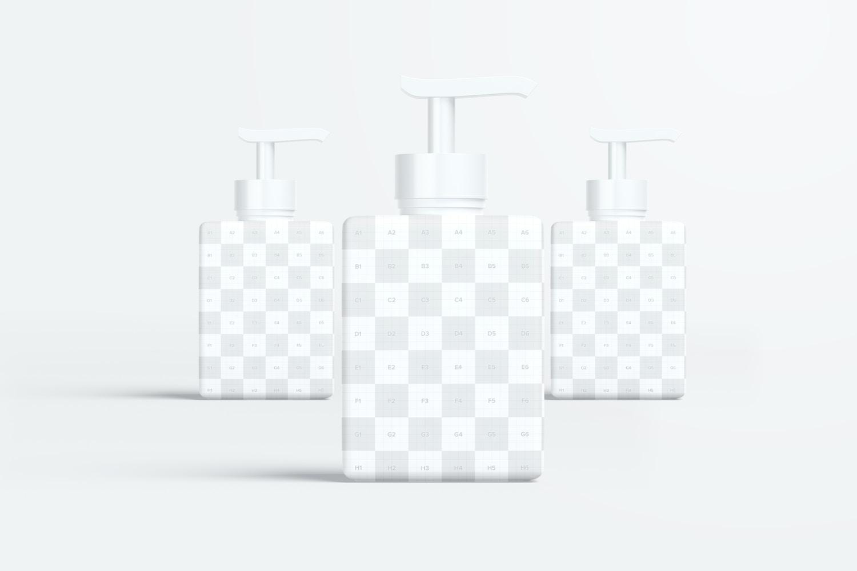 250 ml Square Pump Bottles Mockup, Front View 03