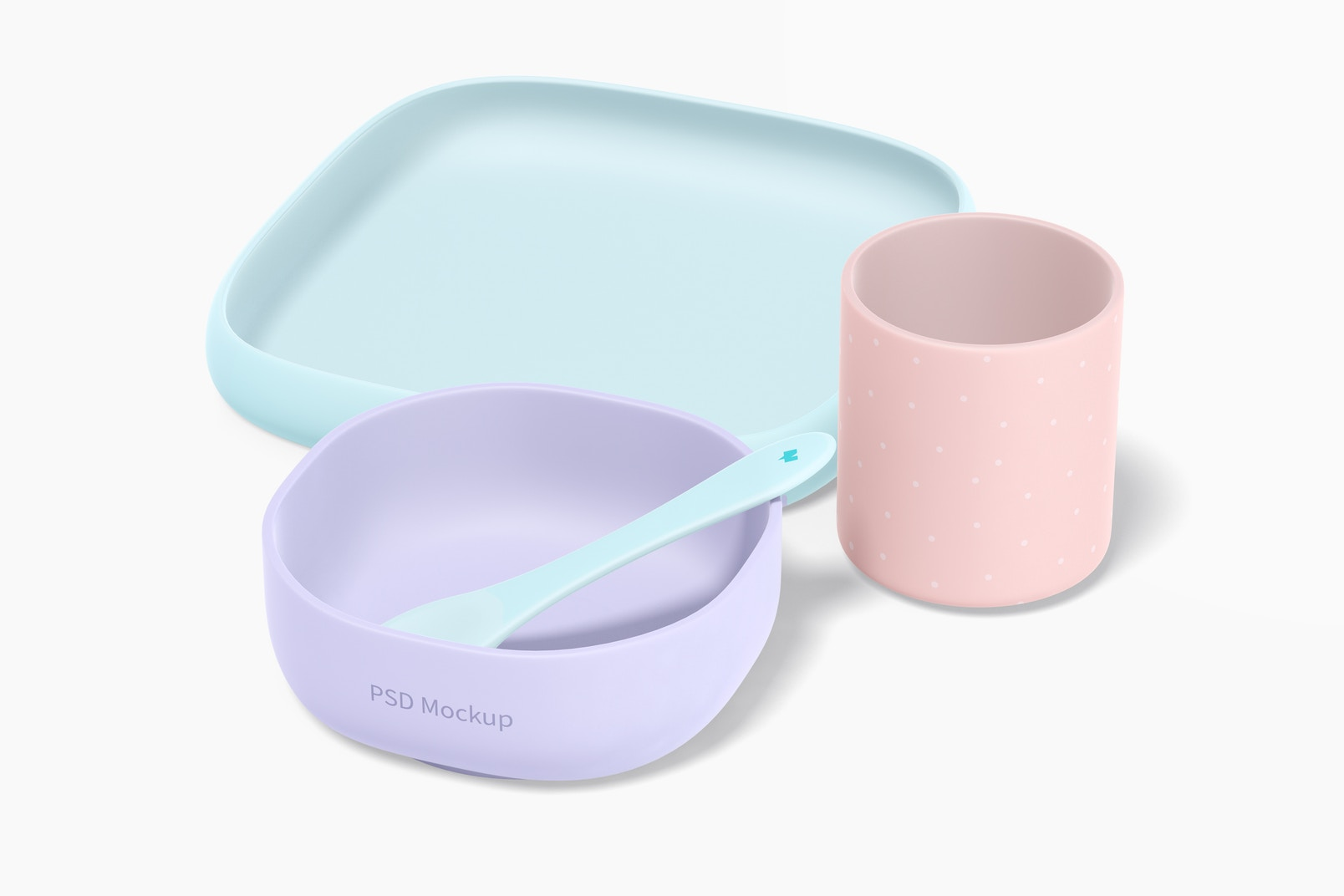 Baby Silicone Crockery Kit Mockup, Right View