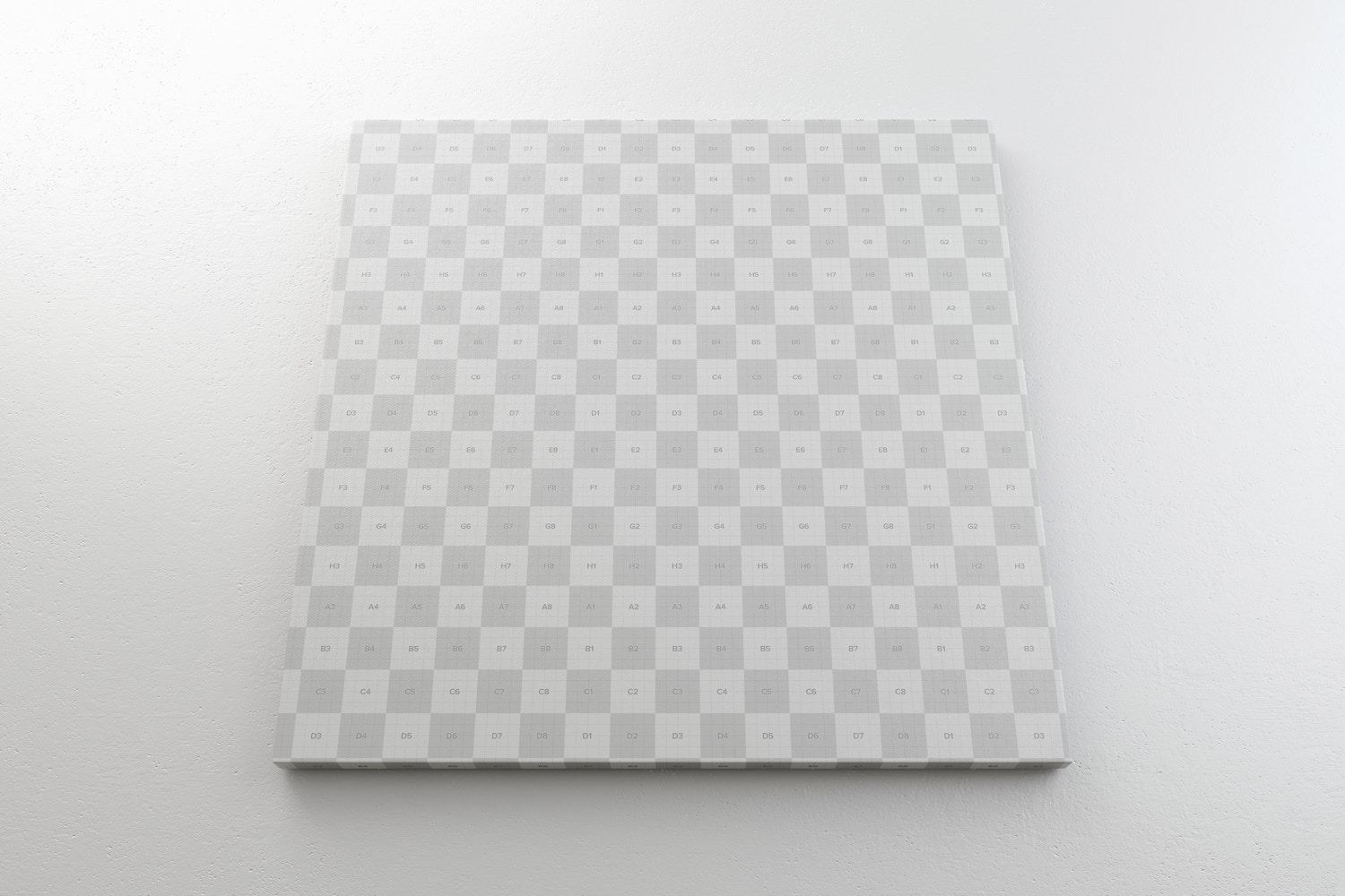 Square Canvas Mockup Hanging on Wall, Bottom Front View