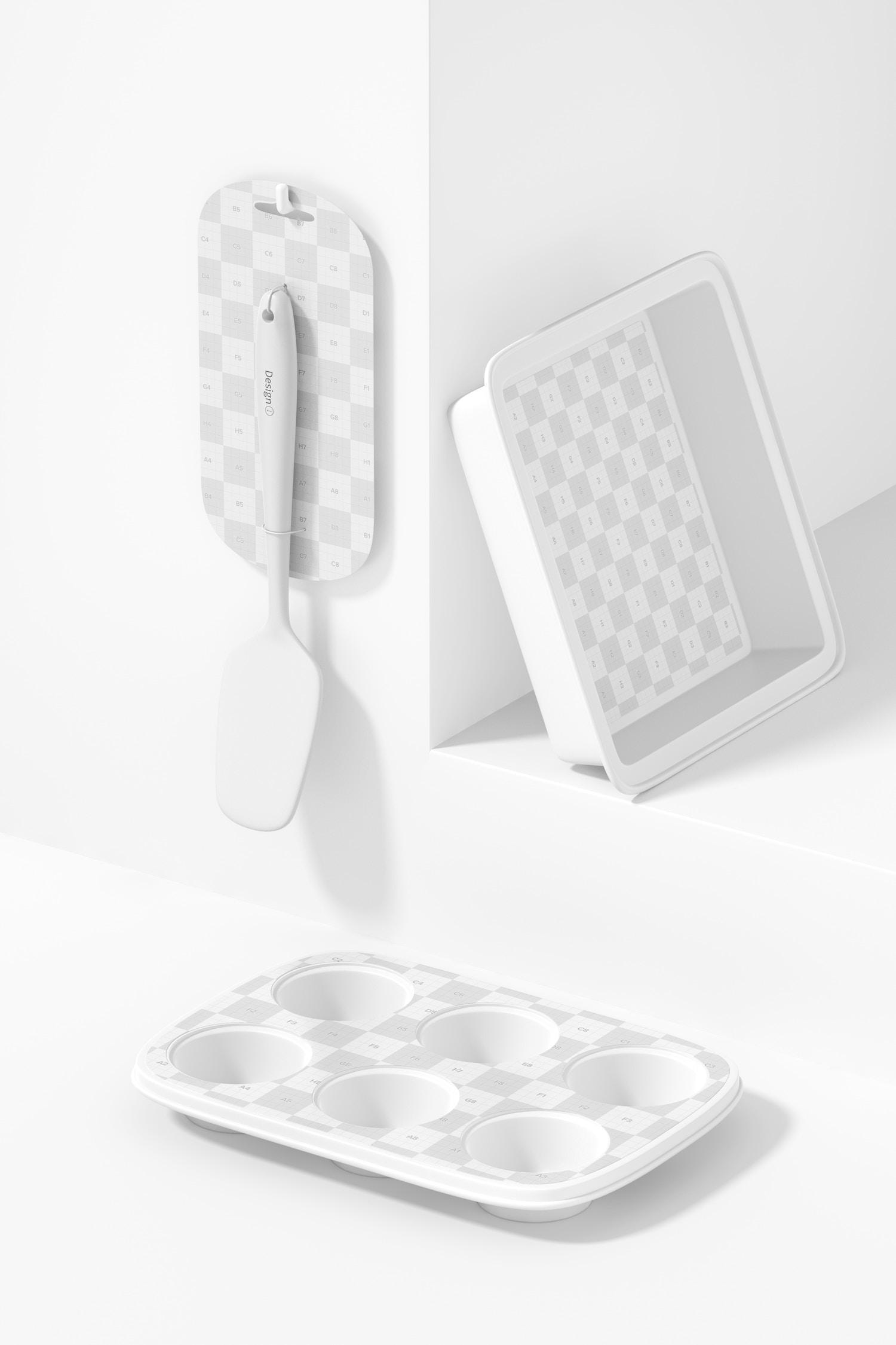 Baking Tools Scene Mockup, Perspective View