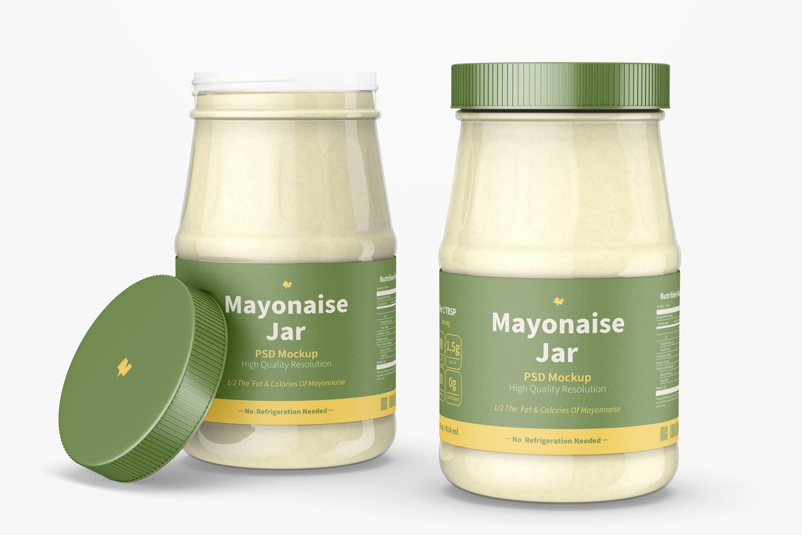 14 oz Mayonnaise Jars Mockup, Opened and Closed