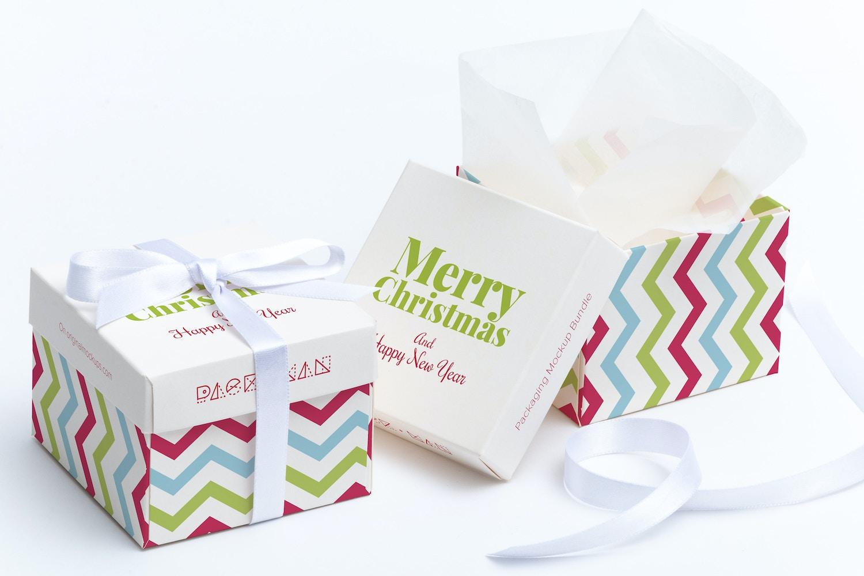 Maqueta para caja de regalo cuadrada 01