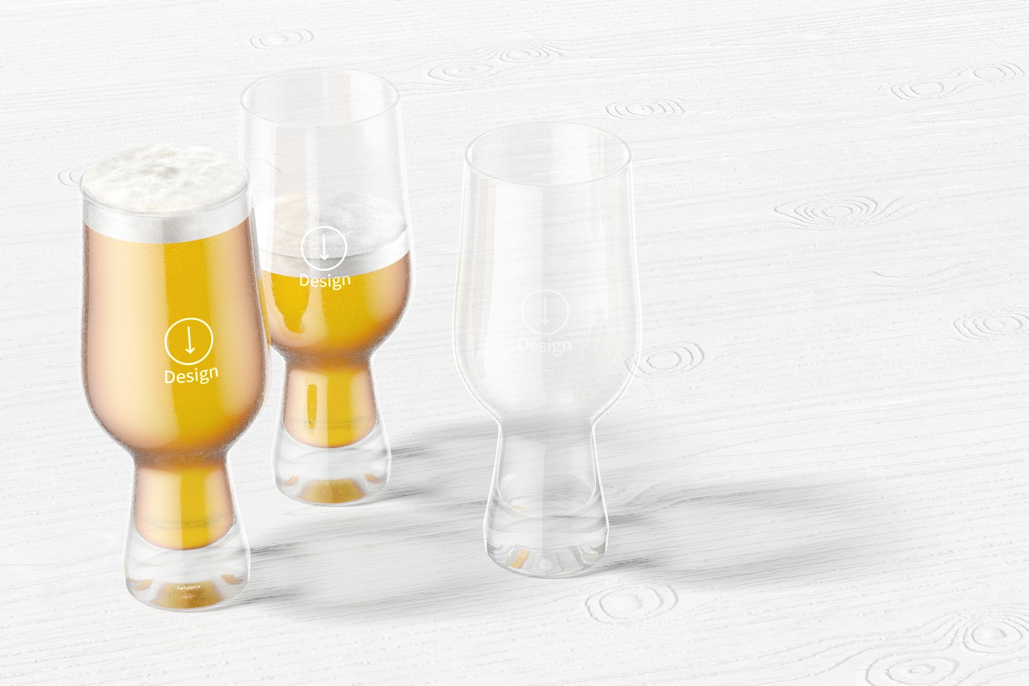 18 oz Glass Beer Cups Mockup, Perspective