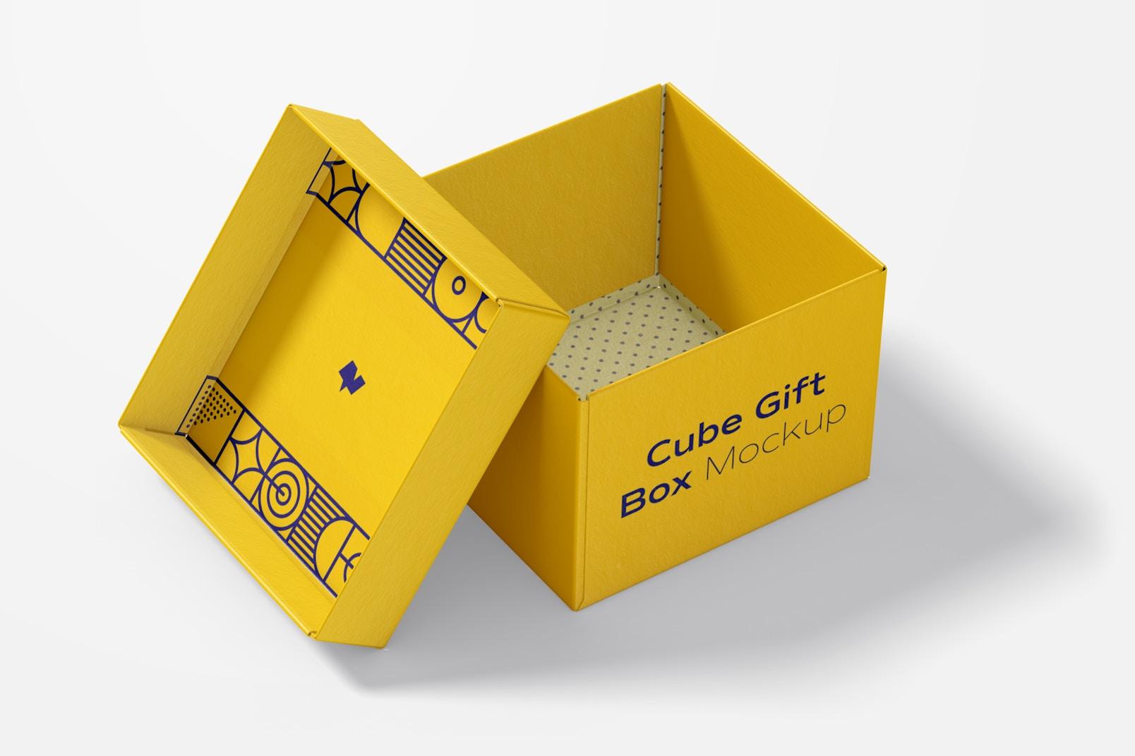 Cube Gift Box Mockup, Interior View