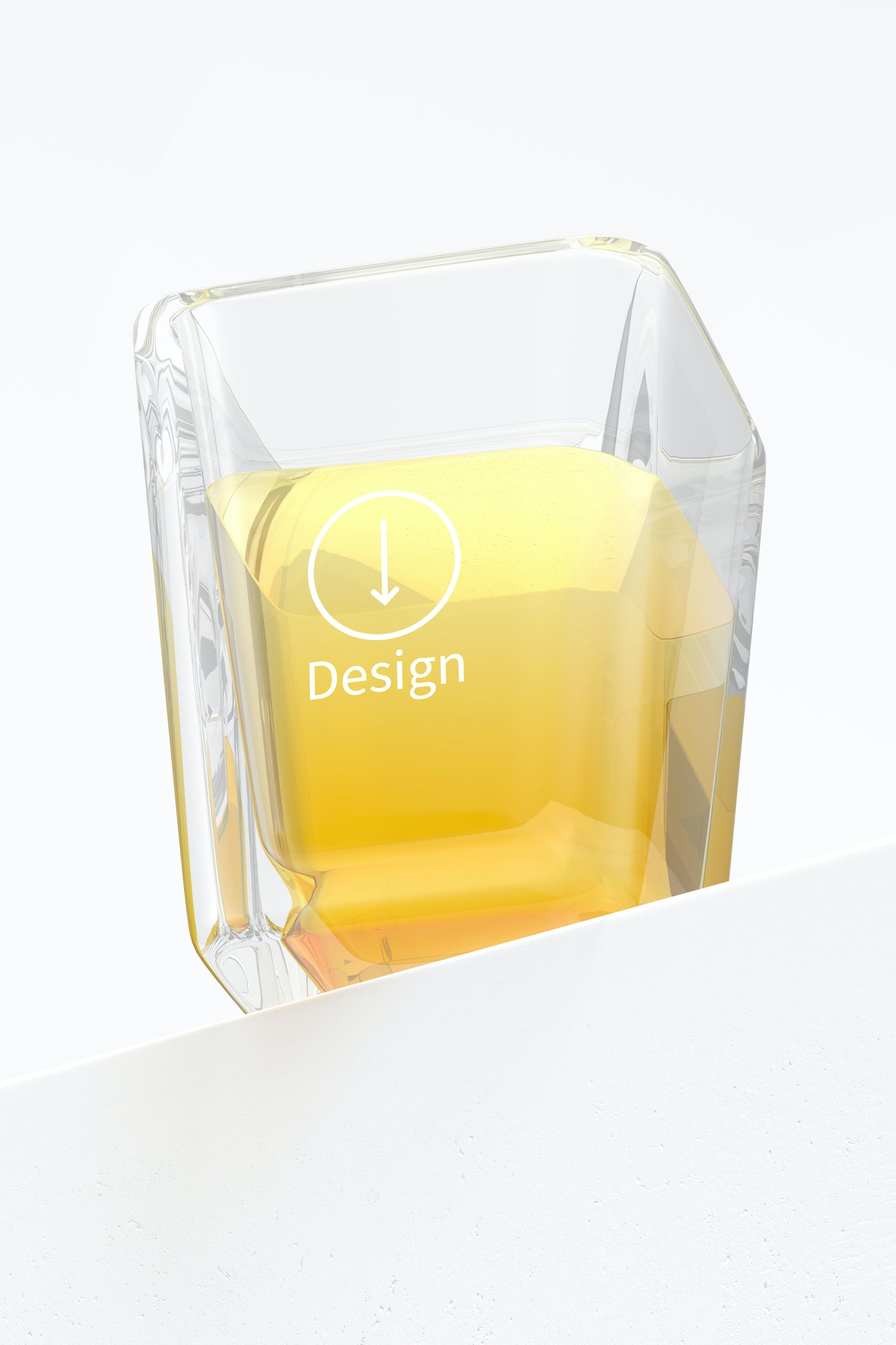 Square Shot Glass Mockup, Low Angle View