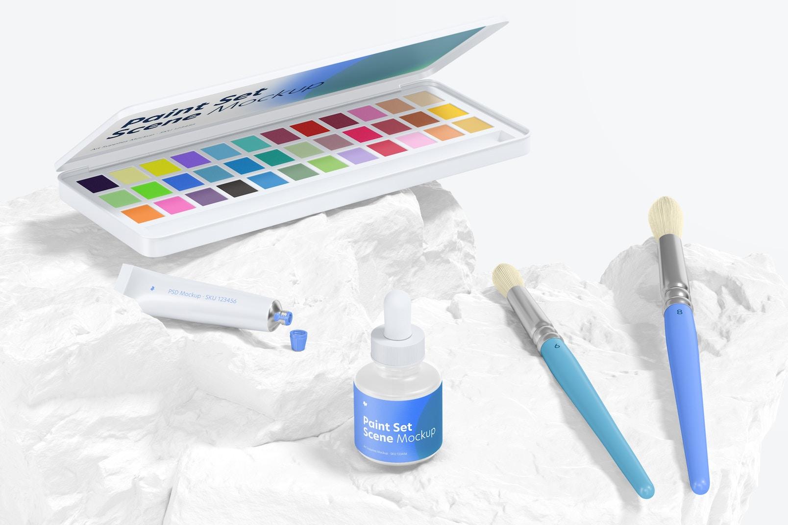Paint Set Scene Mockup