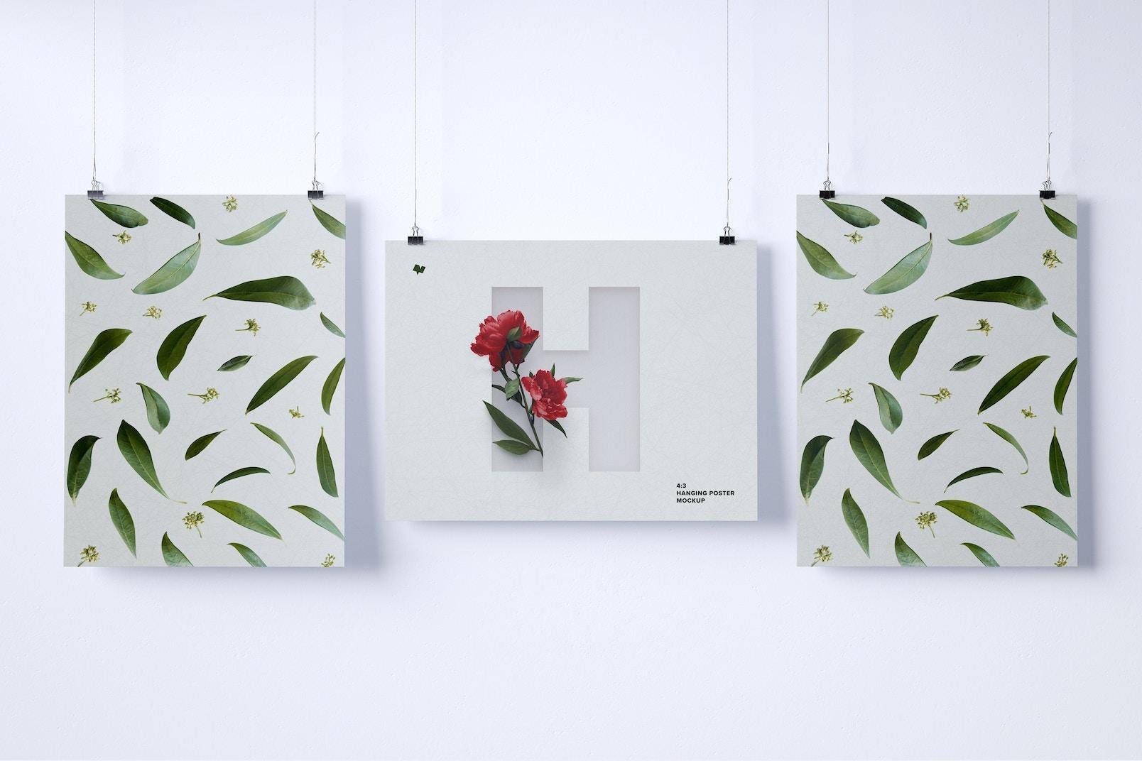 3:4 Three Hanging Posters Mockup