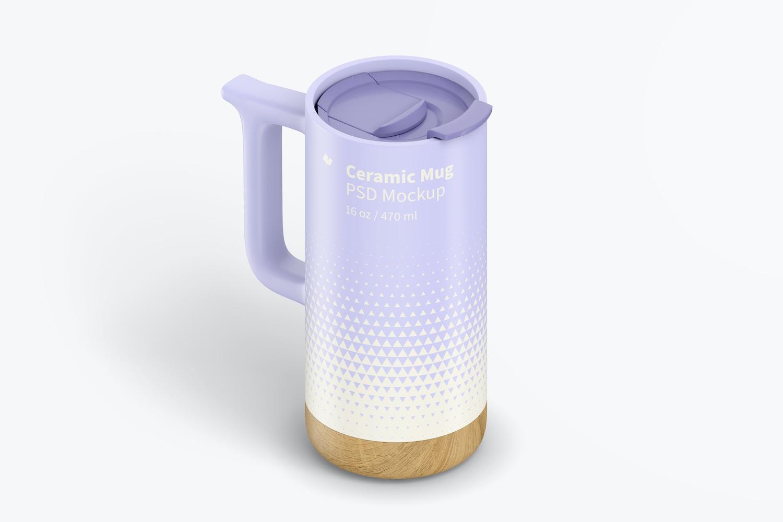 16 oz Ceramic Mugs with Wood Base Mockup, Isometric Right View