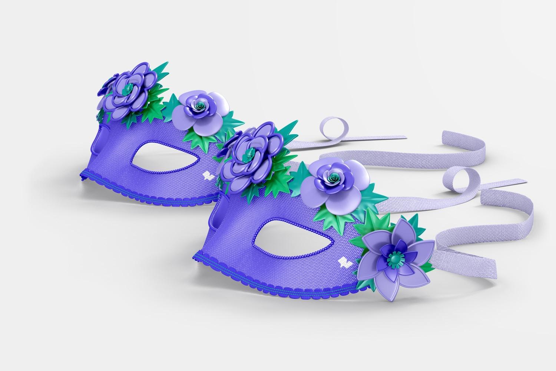 Floral Venetian Half-Face Masks Mockup, Right View