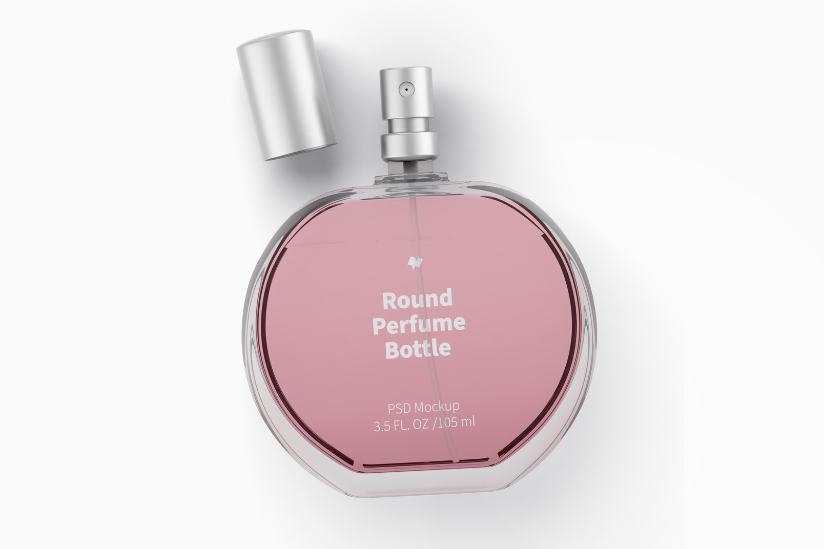Round Perfume Bottle Mockup, Top View