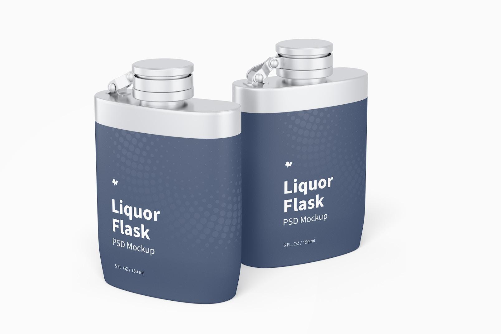 Liquor Flask With Plastic Wrap Mockup