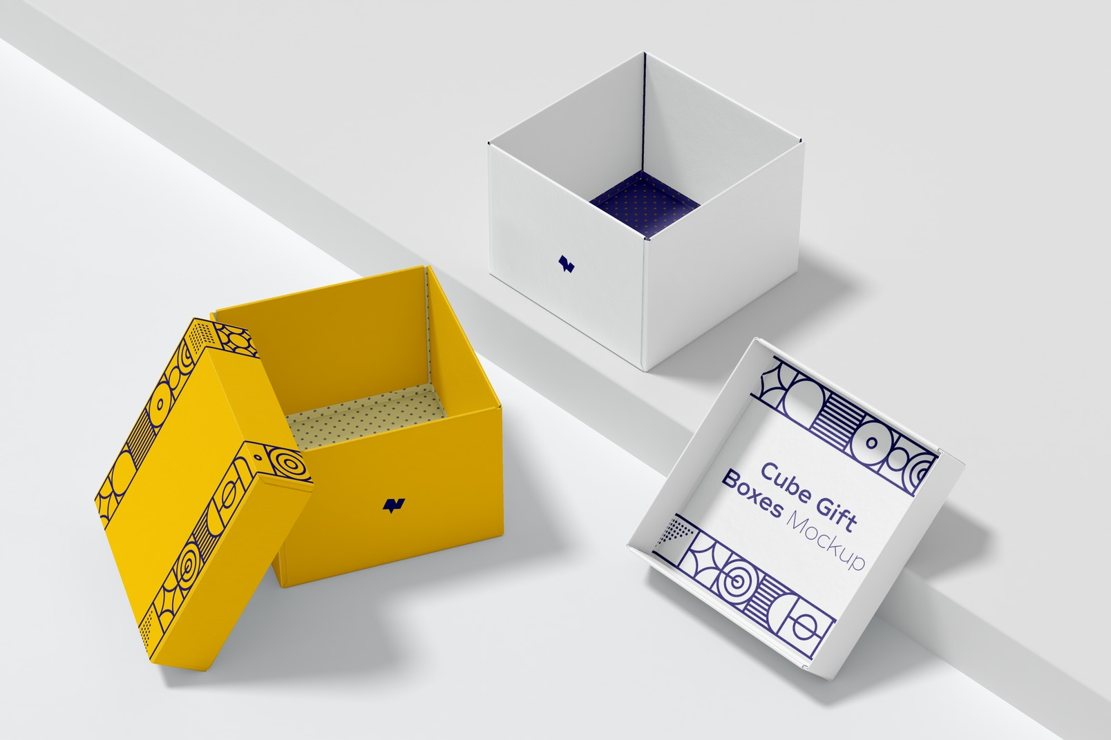 Cube Gift Boxes Set Mockup