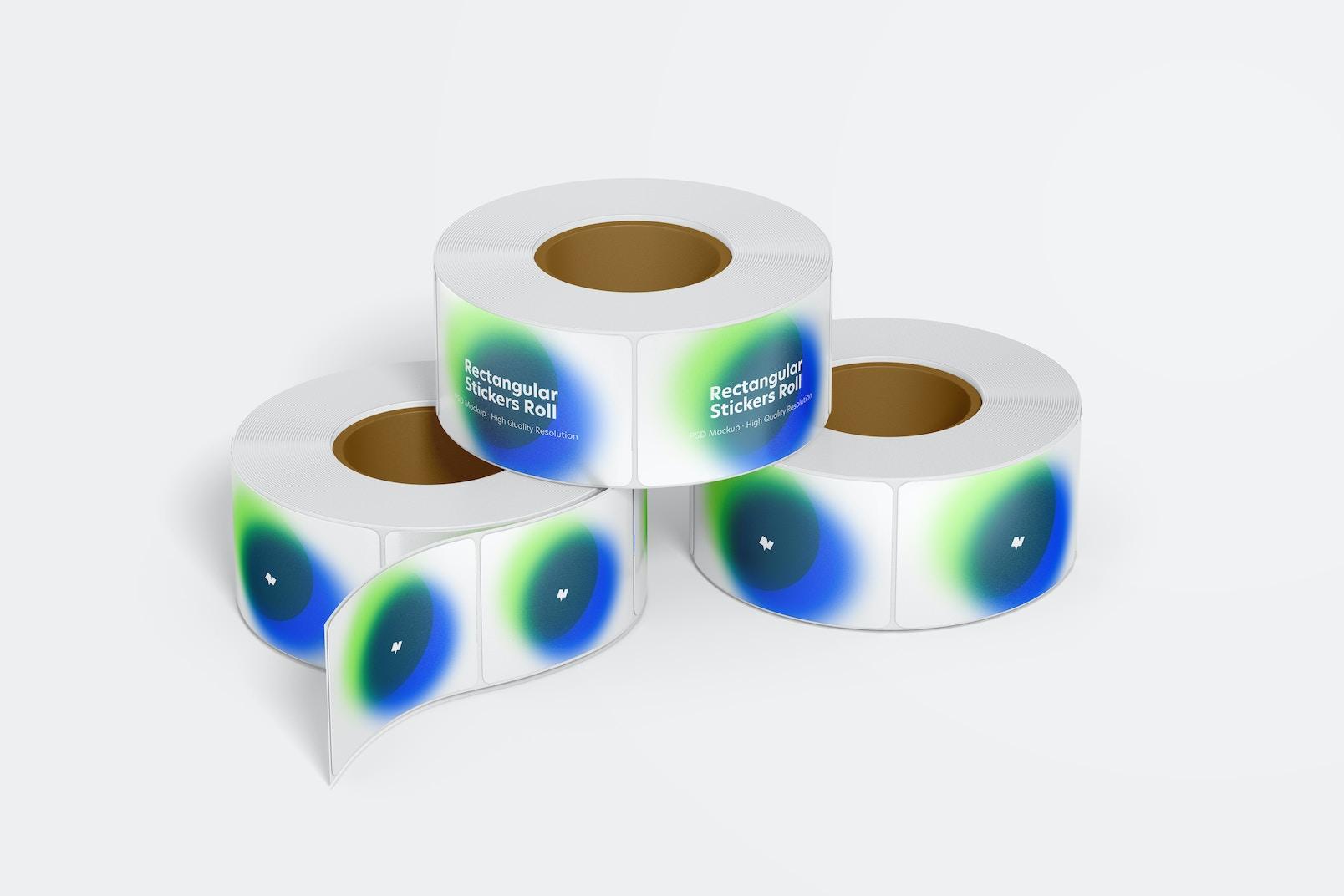 Rectangular Stickers Rolls Mockup