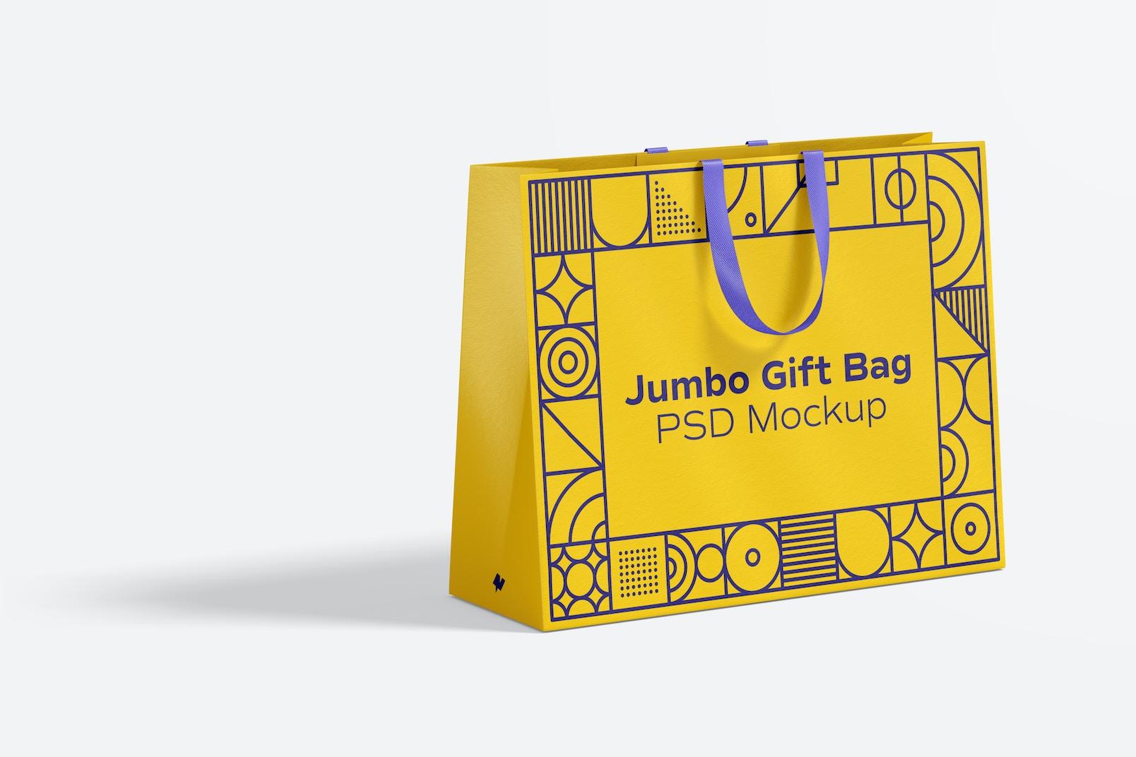 Jumbo Gift Bag with Ribbon Handle Mockup