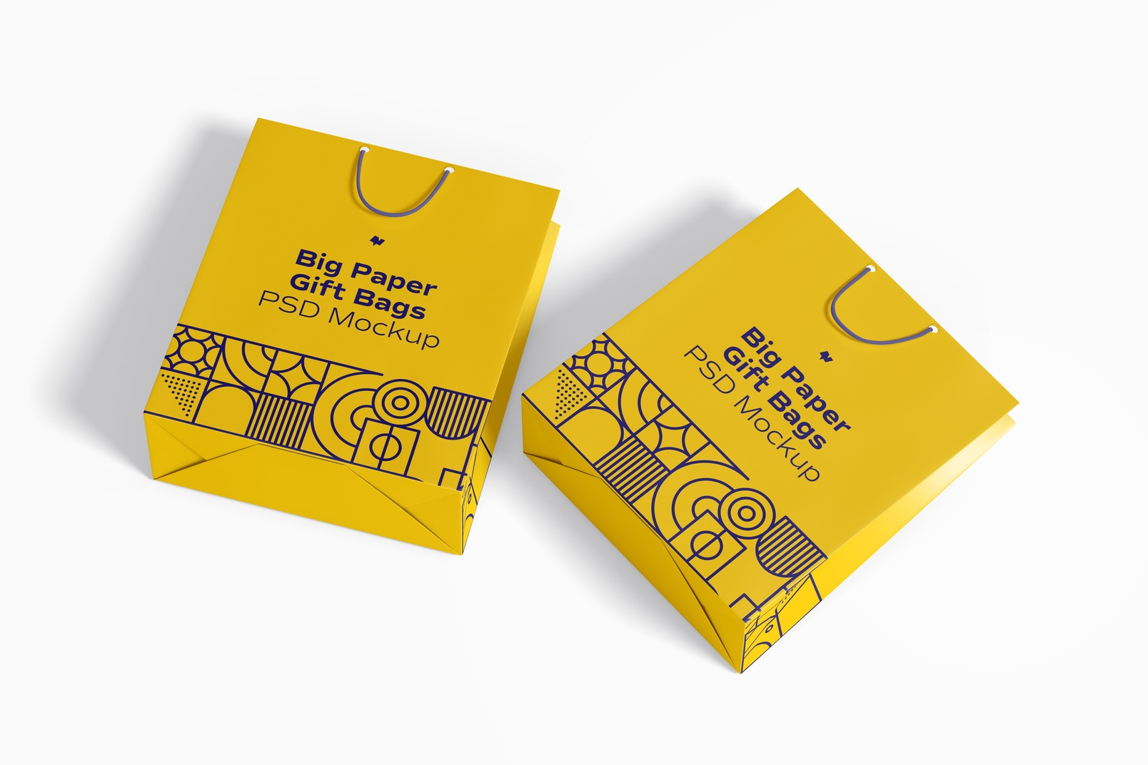 Big Paper Gift Bags With Rope Handle Mockup, Top View