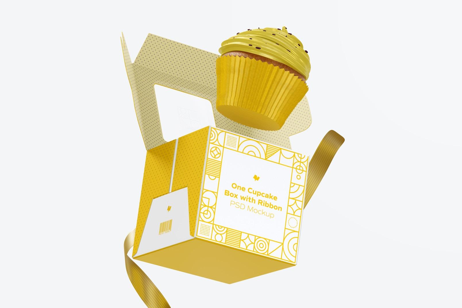 One Cupcake Box with Ribbon Mockup, Falling
