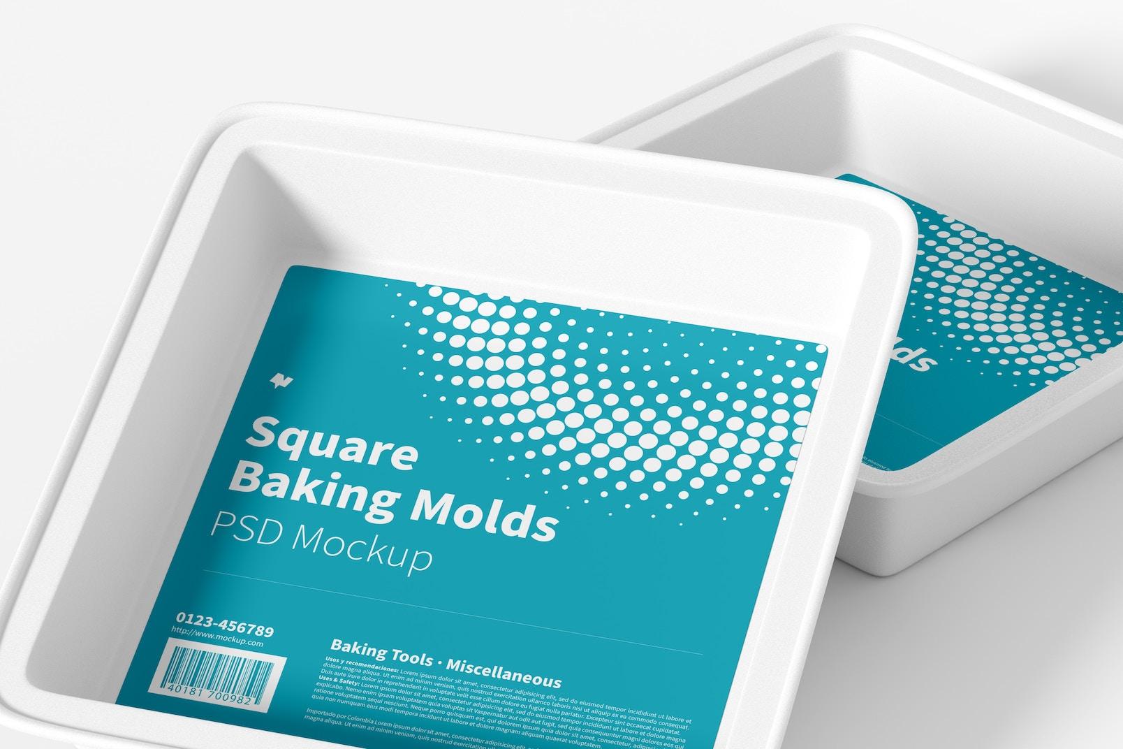 Square Baking Molds Mockup, Close Up