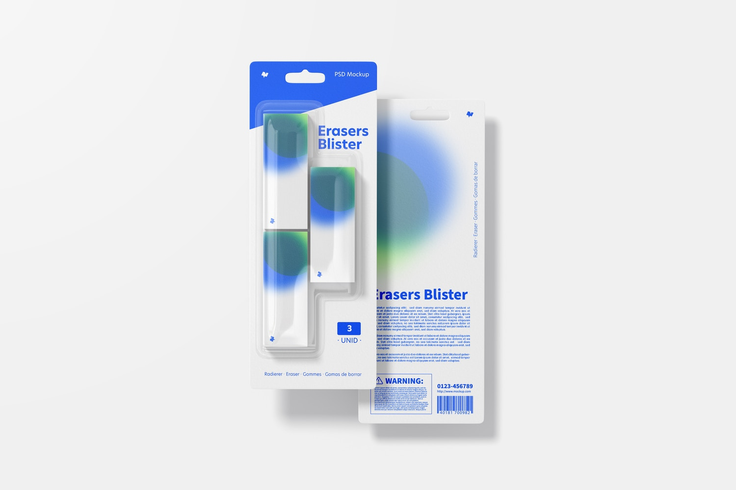 Erasers Blister Mockup, Top View