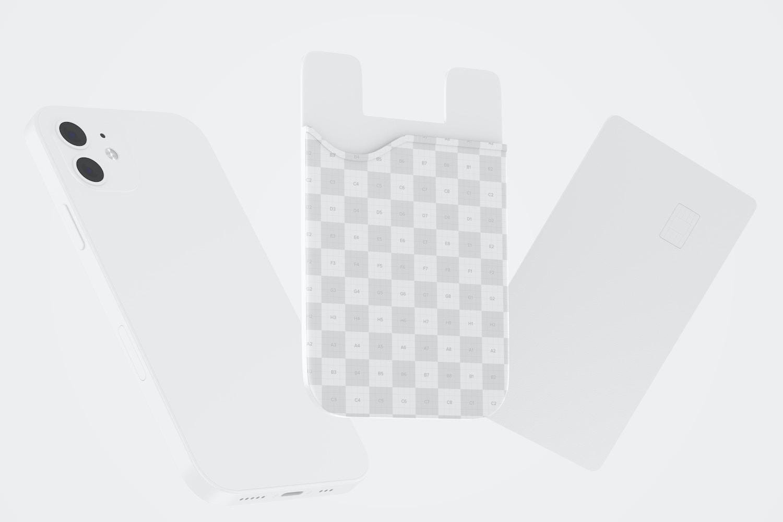 Phone Card Holder Mockup, Floating