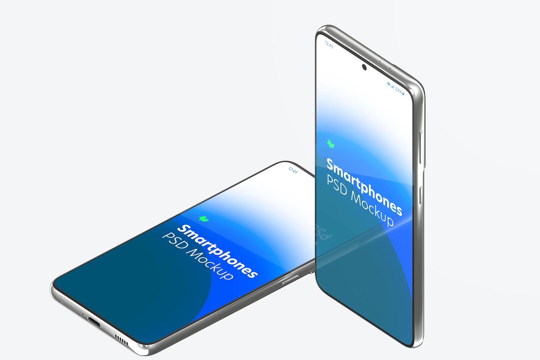 Maqueta de Samsung S21, De Pie y Caído