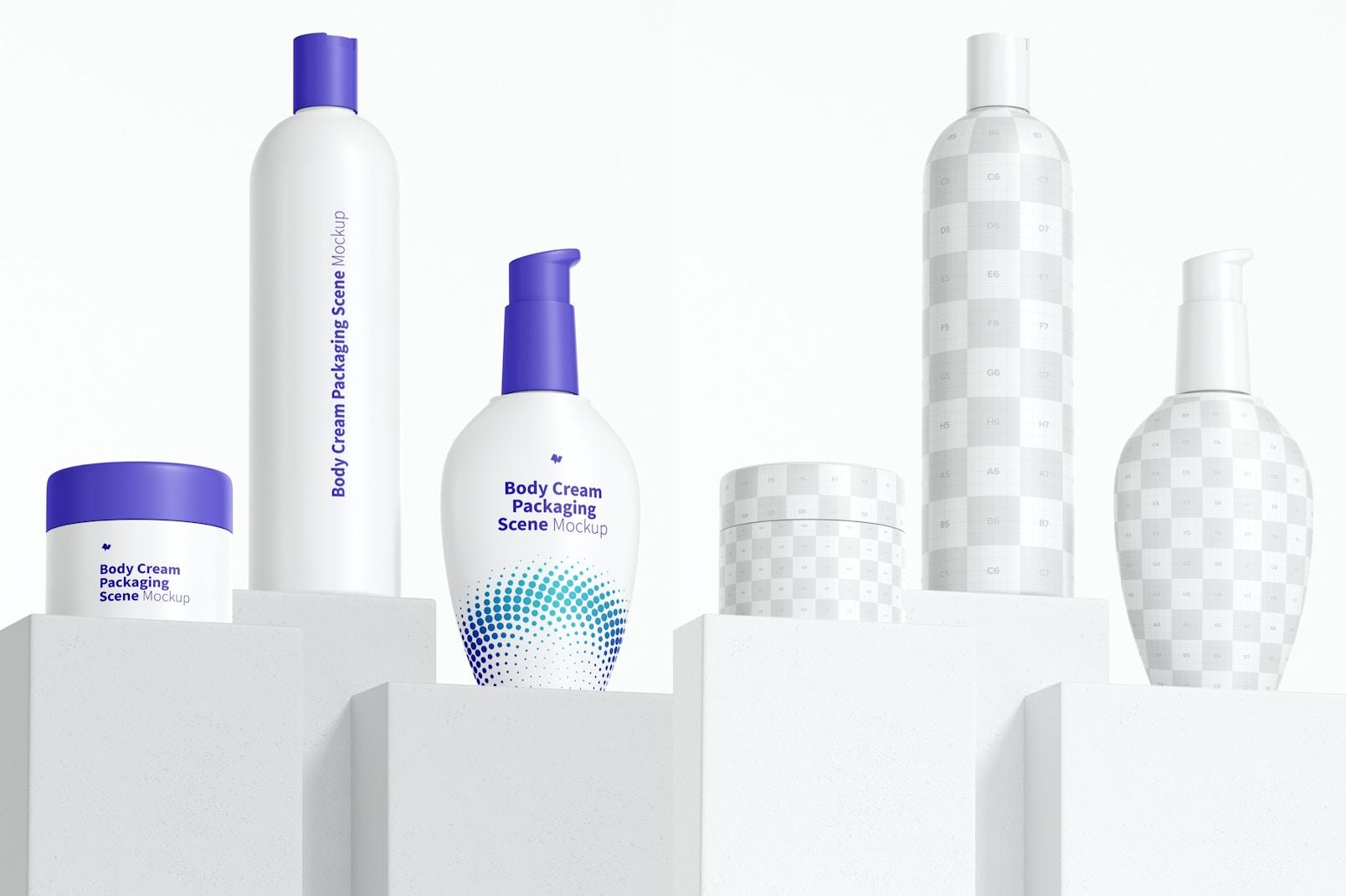 Body Cream Packaging Scenes Mockup