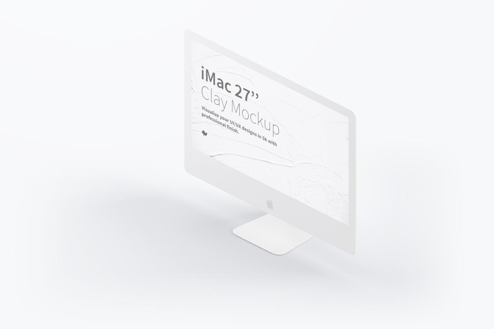 "Clay iMac 27"" Mockup, Isometric Right View"