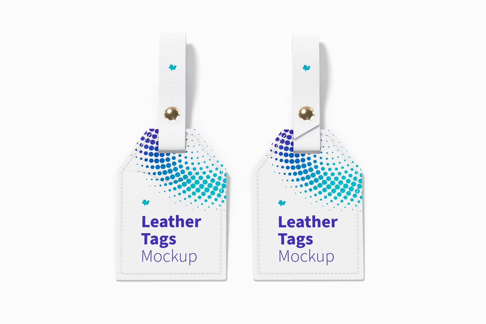 Leather Tags Mockup, Front View