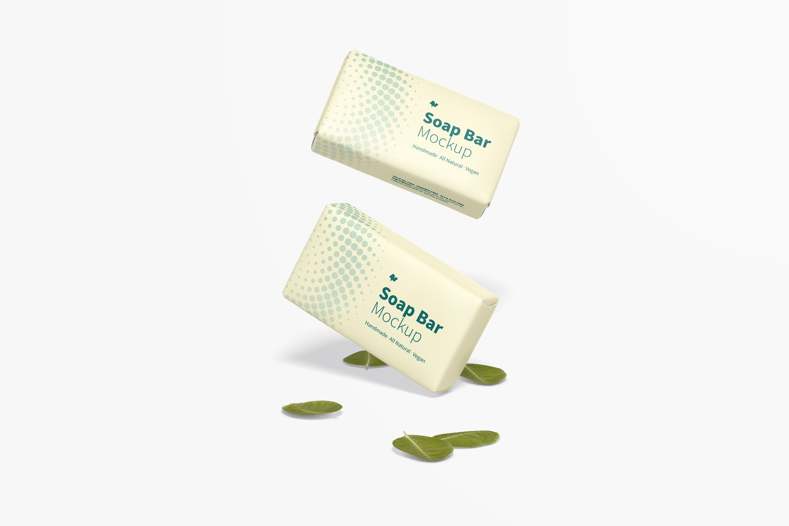 Soap Bars with Paper Package Mockup, Floating