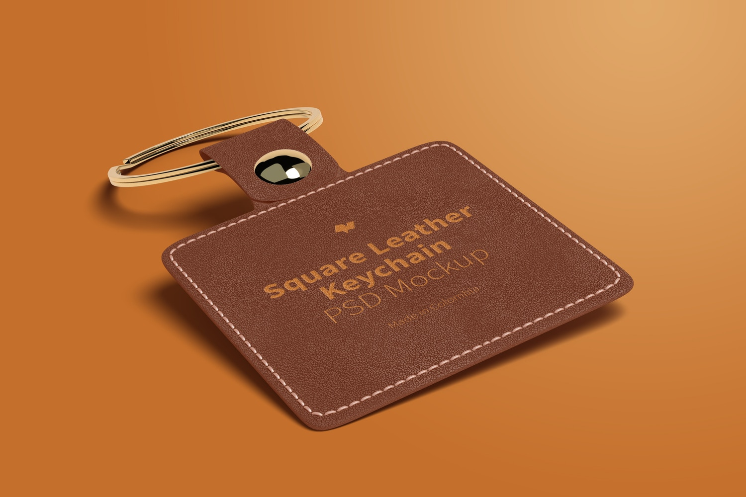 Square Leather Keychain Mockup, Left View