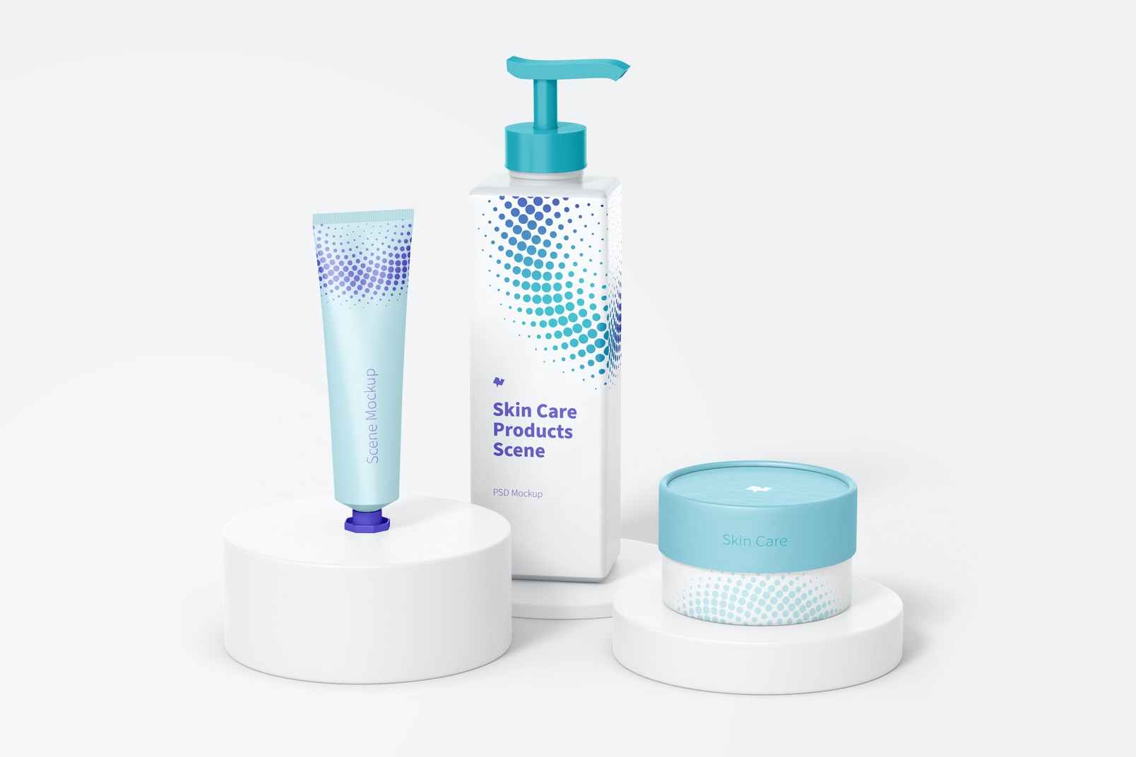 Skin Care Products Scene Mockup, Front Side