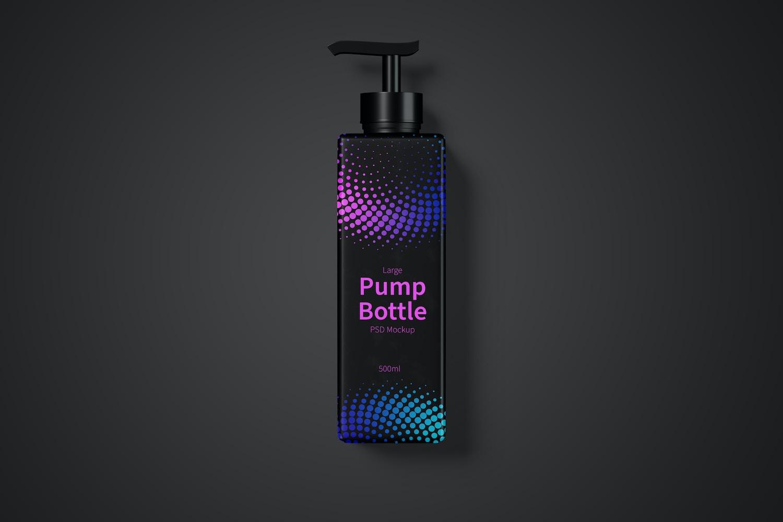 500ml Large Pump Bottle Mockup, Top View