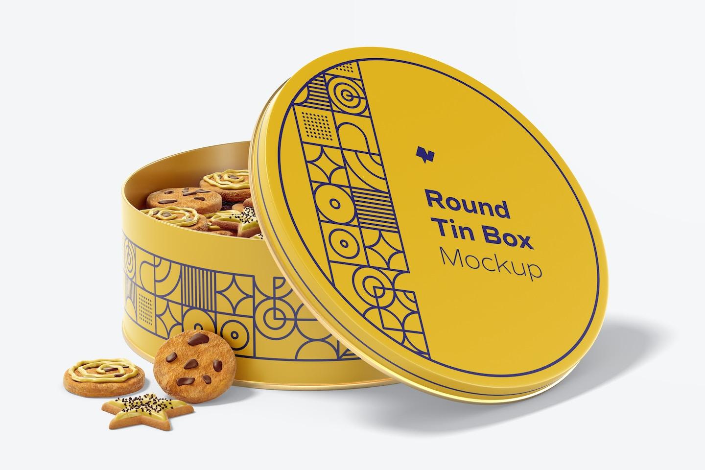 Round Tin Box Mockup, Opened