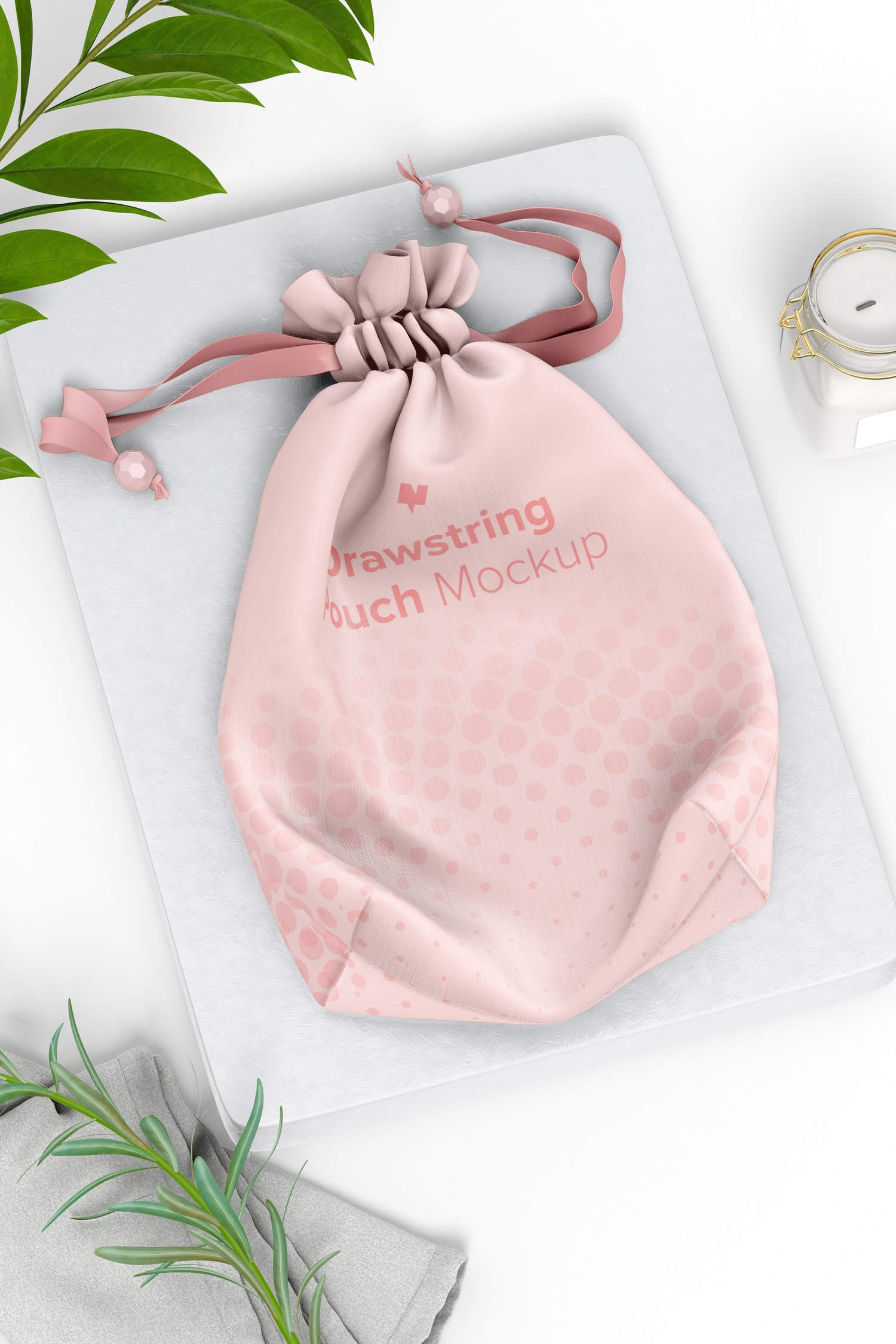 Drawstring Pouch Mockup, Perspective