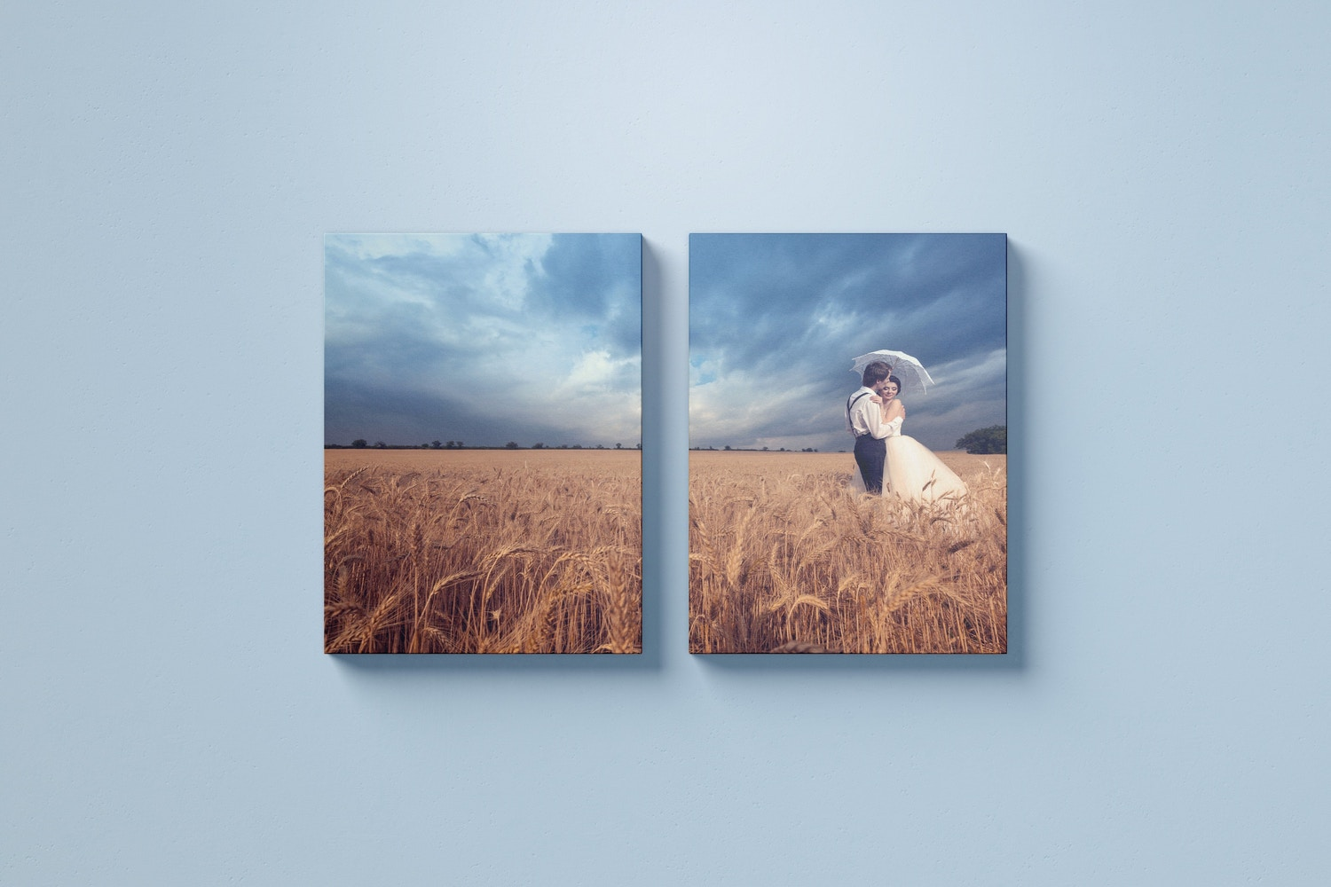 Two 3:4 Portrait Canvas Mockup Hanging on Wall, Front View