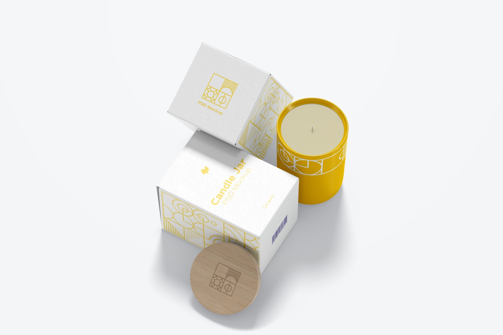 Ceramic Candle Jar with Boxes Mockup
