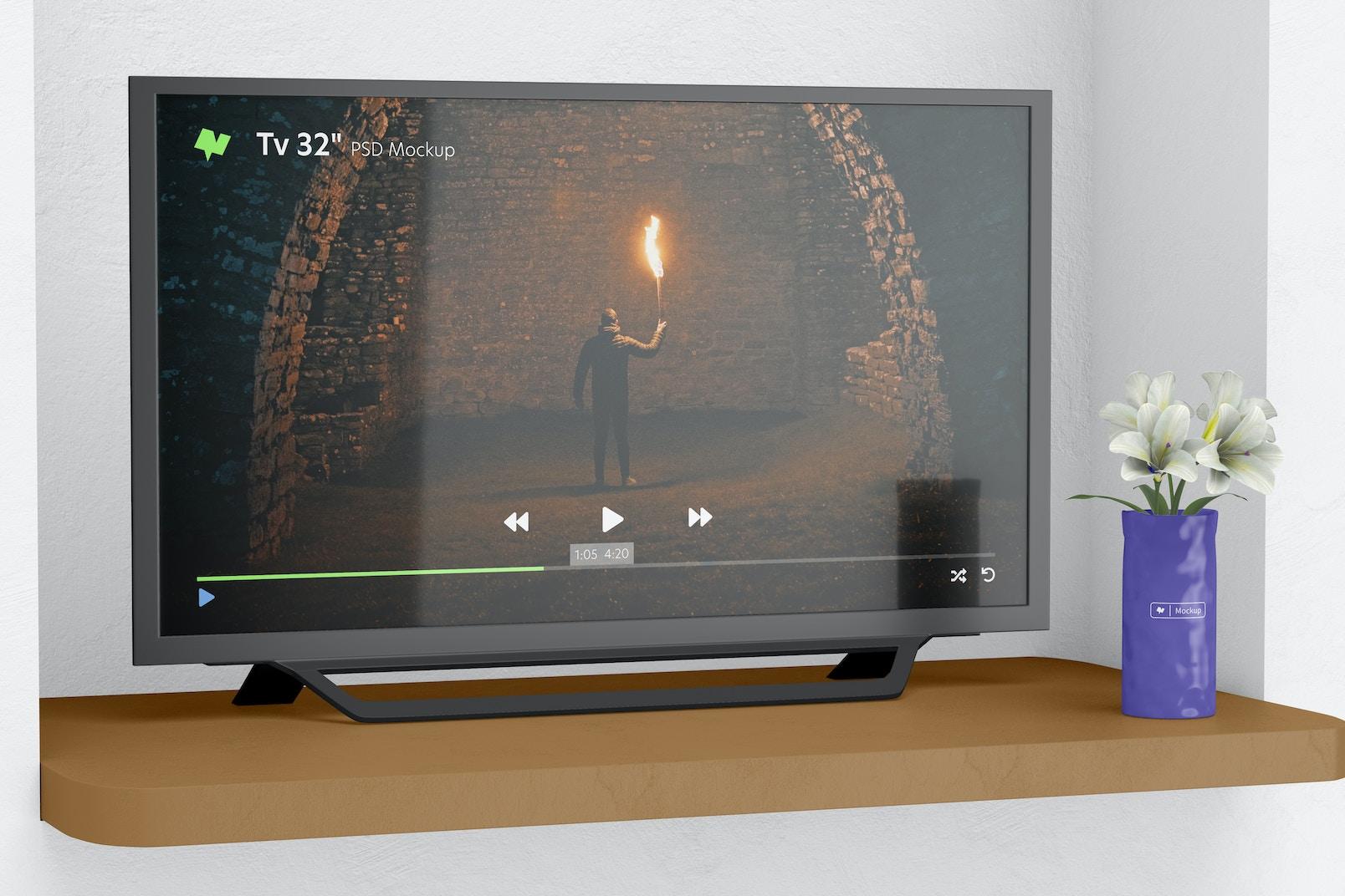 "Tv 32"" on a Shelf Mockup"