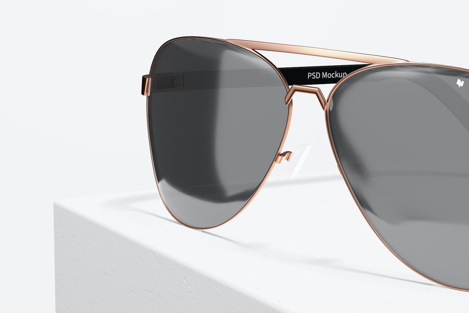 Aviator Sunglasses Mockup, Close Up