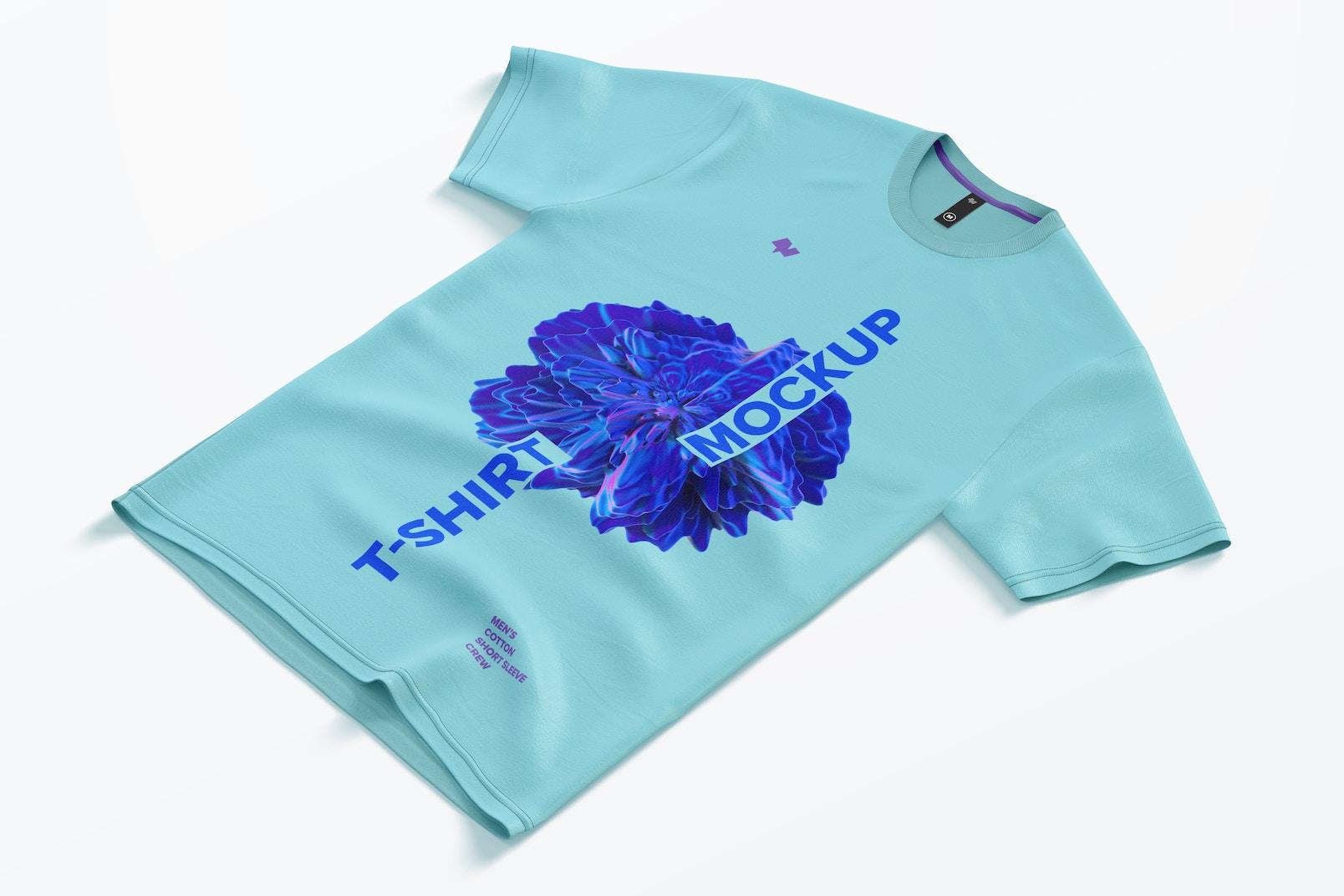 Men's Cotton Short Sleeve Crew T-Shirt Mockup, Right View