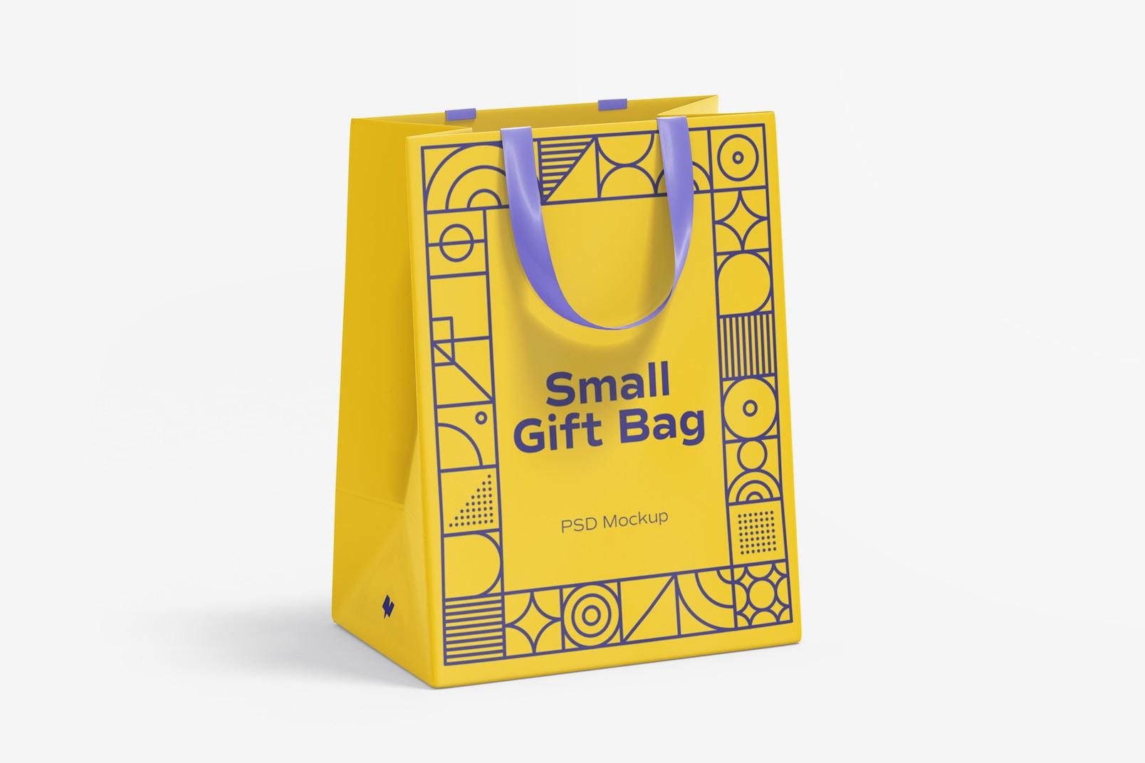 Small Gift Bag with Ribbon Handle Mockup, Front View
