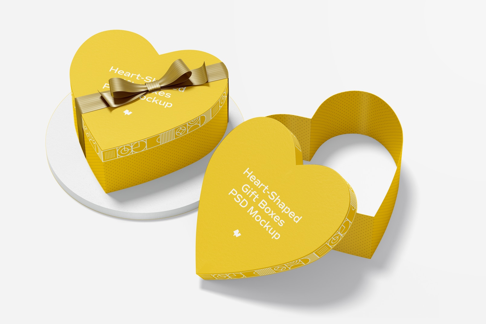 Heart-Shaped Gift Boxes With Paper Ribbon Mockup, Opened and Closed
