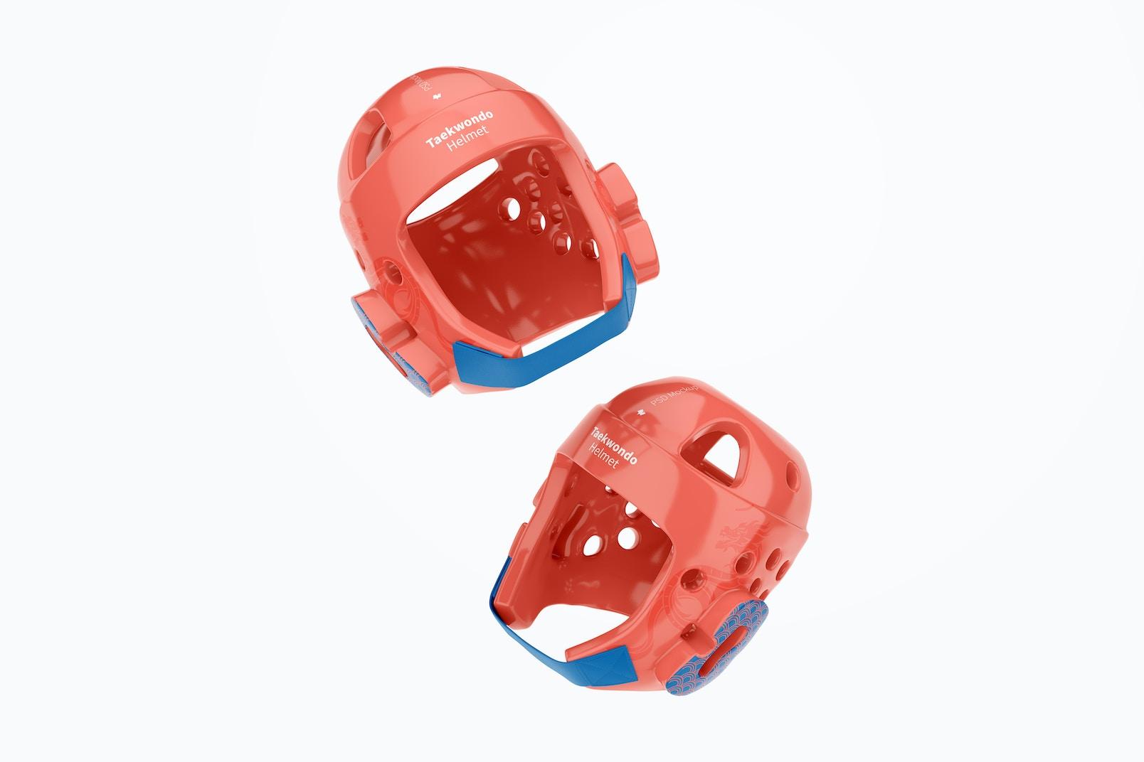 Taekwondo Helmets Mockup, Floating