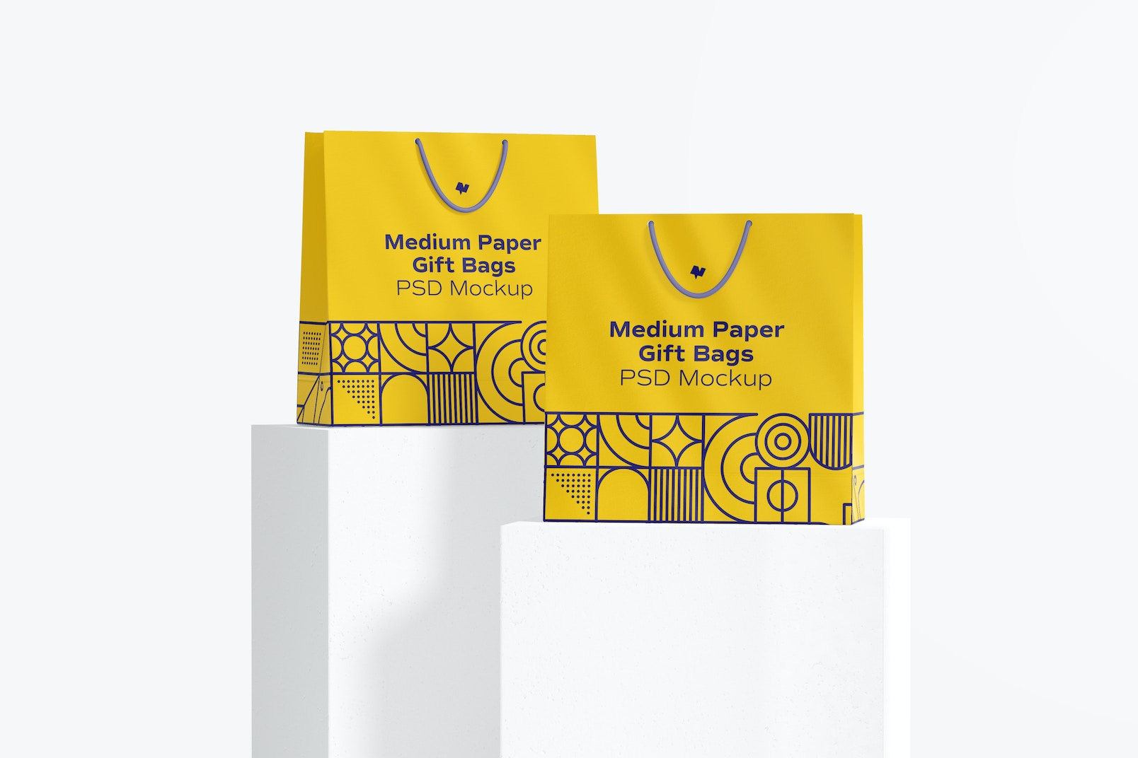 Medium Paper Gift Bags With Rope Handle Set Mockup