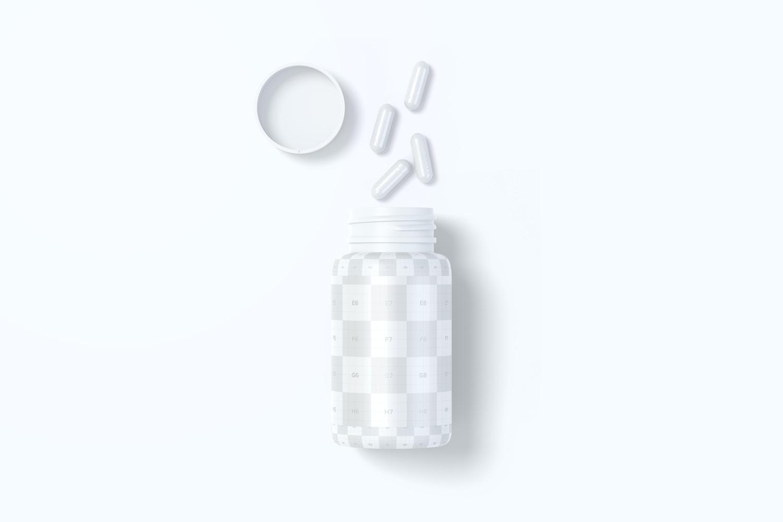 Plastic Pill Jar Mockup, Top View