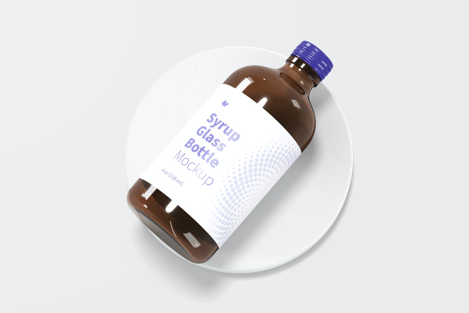 4 oz Syrup Glass Bottle Mockup, Top View