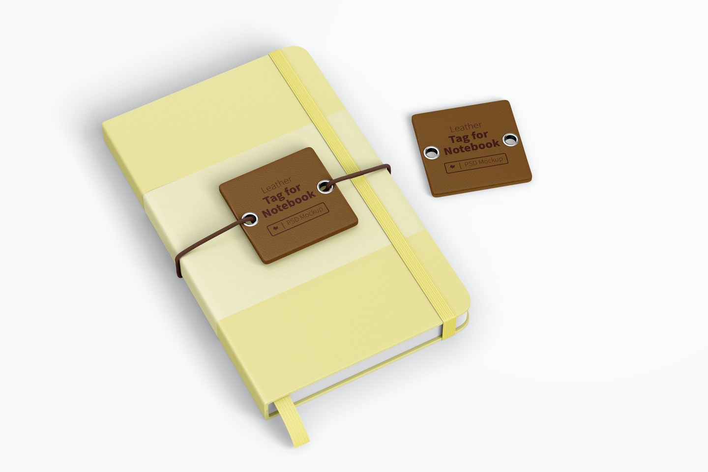 Leather Tag For Notebook Mockup