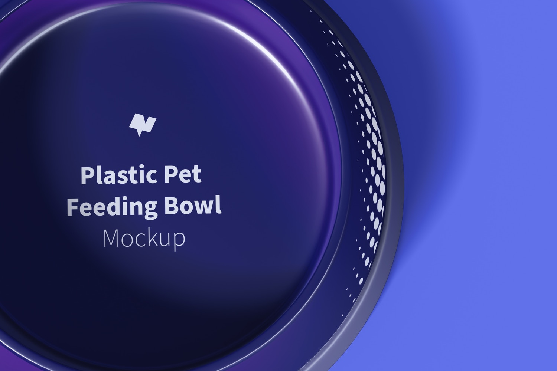 Plastic Pet Feeding Bowl Mockup, Top View