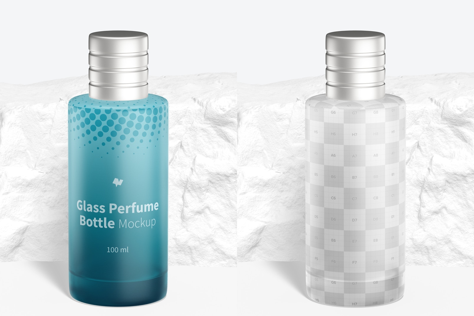 100 ml Glass Perfume Bottle Mockup, Front View