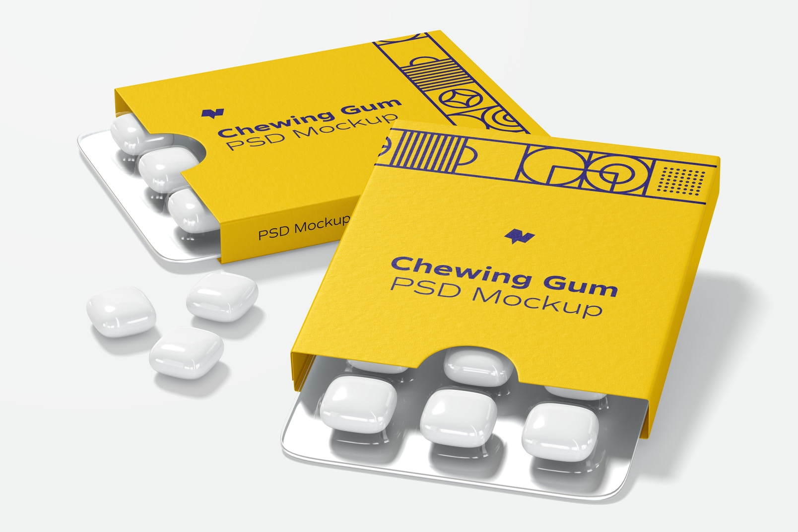 Chewing Gum Packaging Mockup, Right View