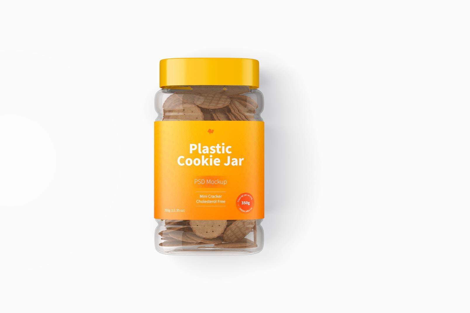Plastic Cookie Jar Mockup, Top View